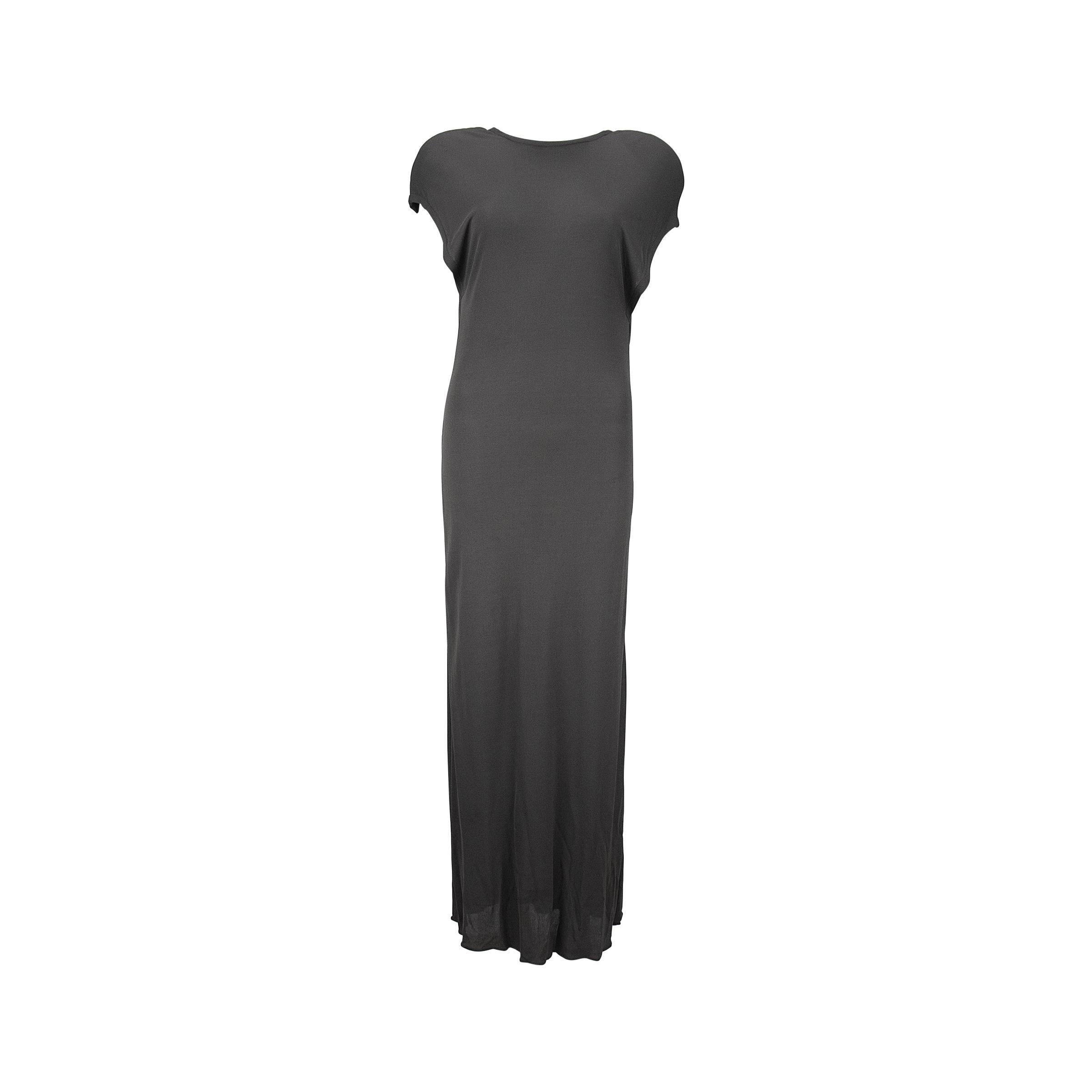 1980s Calvin Klein Gray Rayon Open Neck Maxi Dress