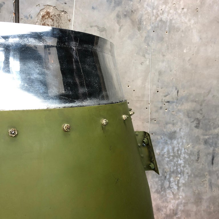 1980s Canadian Bombardier Jet Engine Cowling, Green Industrial Pendant Light For Sale 4