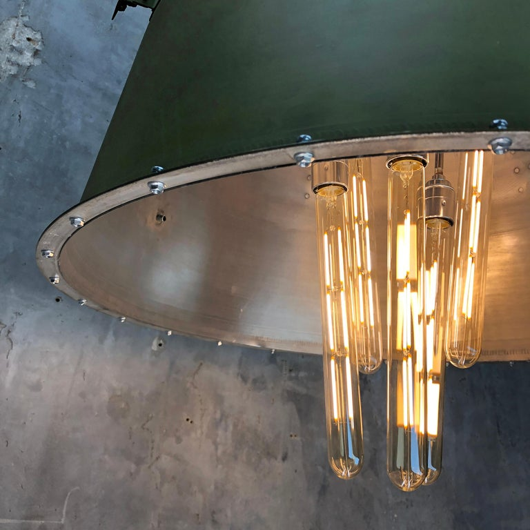 1980s Canadian Bombardier Jet Engine Cowling, Green Industrial Pendant Light For Sale 7