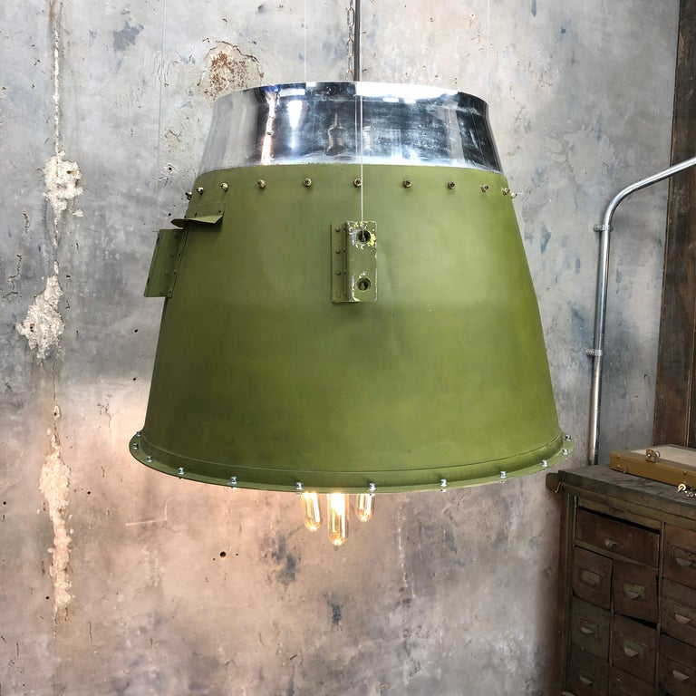 1980s Canadian Bombardier Jet Engine Cowling, Green Industrial Pendant Light For Sale 12