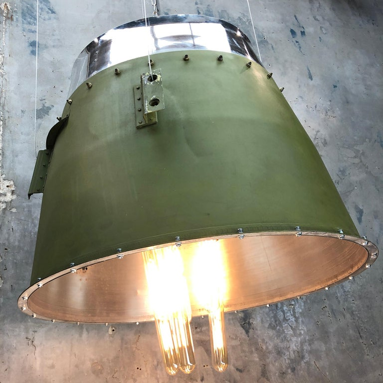 1980s Canadian Bombardier Jet Engine Cowling, Green Industrial Pendant Light In Good Condition For Sale In Leicester, Leicestershire