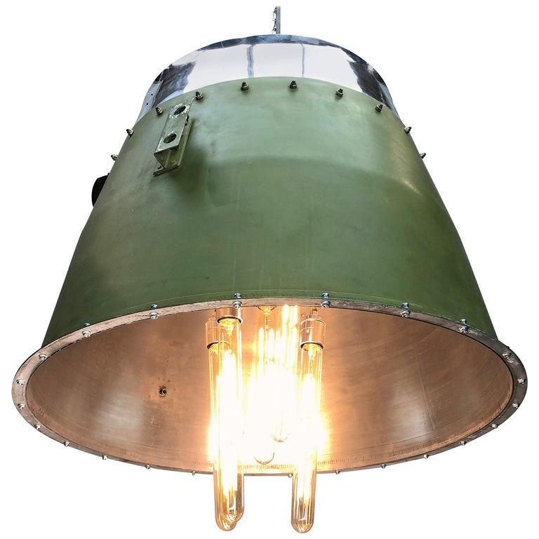 1980s Canadian Bombardier Jet Engine Cowling, Green Industrial Pendant Light For Sale