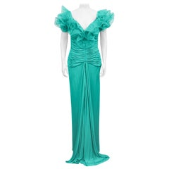 1980s Candice Fraiberger Turquoise Gown