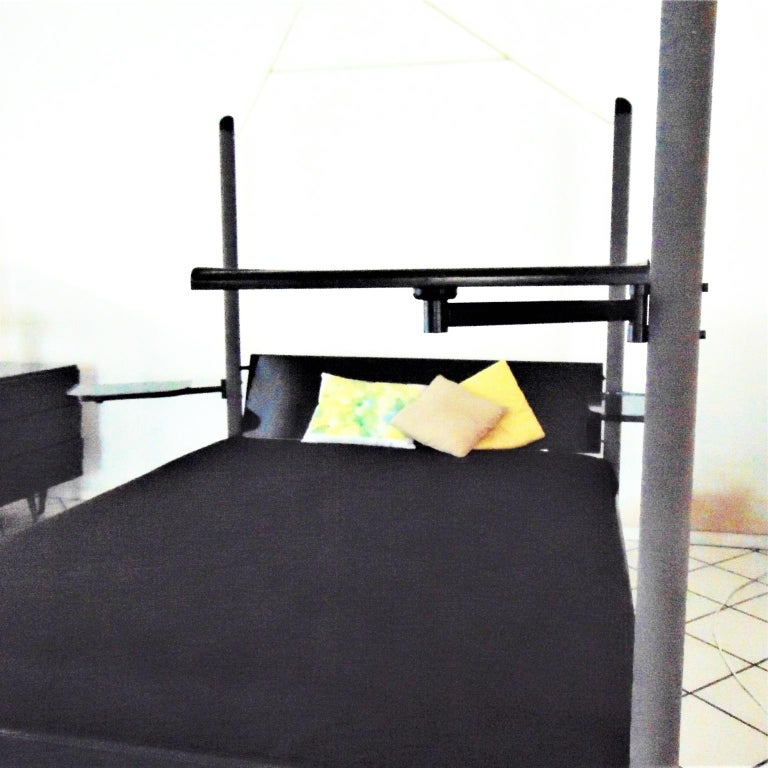 Metal 1980s Green Canopy Bed Glossy Dark Lacquer, Adjustable Shelves, Sormani, Italy For Sale
