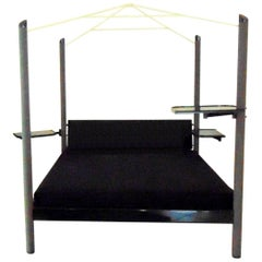 1980s Canopy Bed Dark Lacquer, Adjustable Shelves, Sormani, Italy