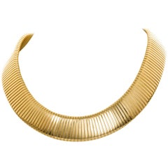 1980s Carlo Weingrill 18 Karat Yellow Gold Tubogas Collar Necklace