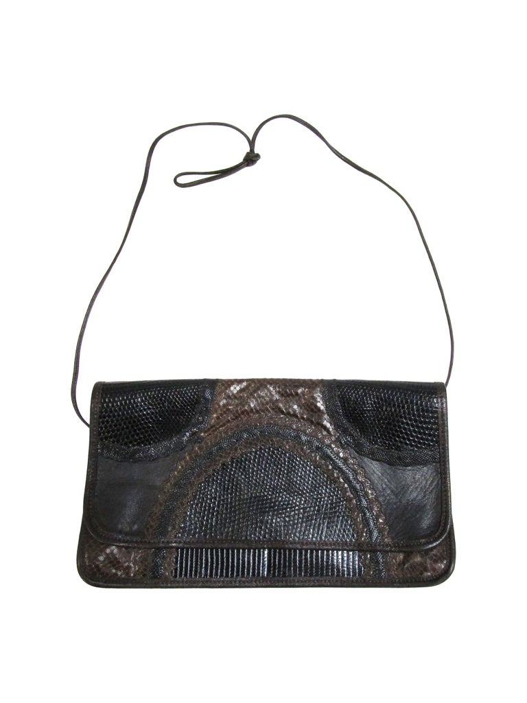1980's Carlos Falchi Black Exotic Skins Clutch w/ Shoulder Strap In Good Condition For Sale In Houston, TX
