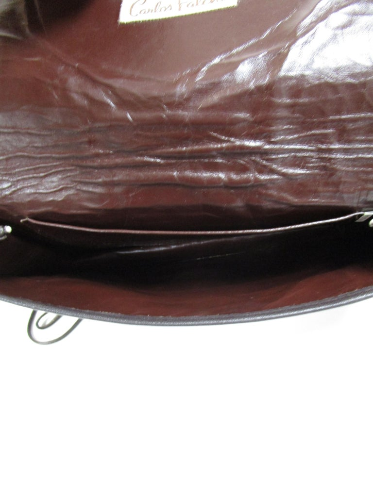 Women's 1980's Carlos Falchi Black Exotic Skins Clutch w/ Shoulder Strap For Sale