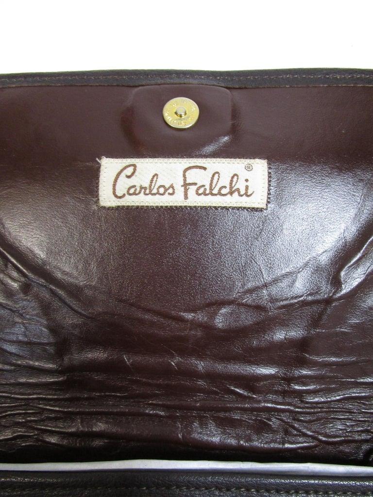 1980's Carlos Falchi Black Exotic Skins Clutch w/ Shoulder Strap For Sale 1
