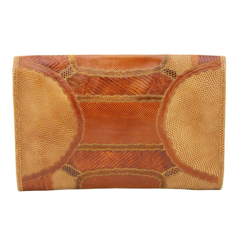 Brown 1980s Carlos Falchi Patchwork Tan Clutch  For Sale