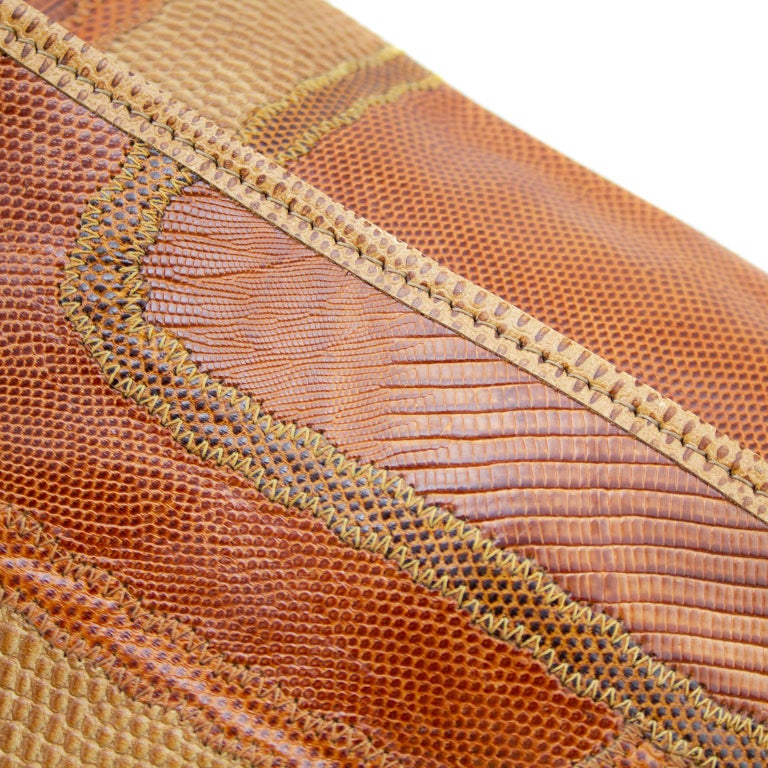 1980s Carlos Falchi Patchwork Tan Clutch  In Good Condition For Sale In Toronto, Ontario