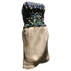 1980s Carolina Herrera Lily of the Valley Strapless Cocktail Sarong Mini Dress