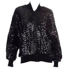 1980s Caron Vintage Black Sequin Zip Front Sweatshirt Style Jacket Top