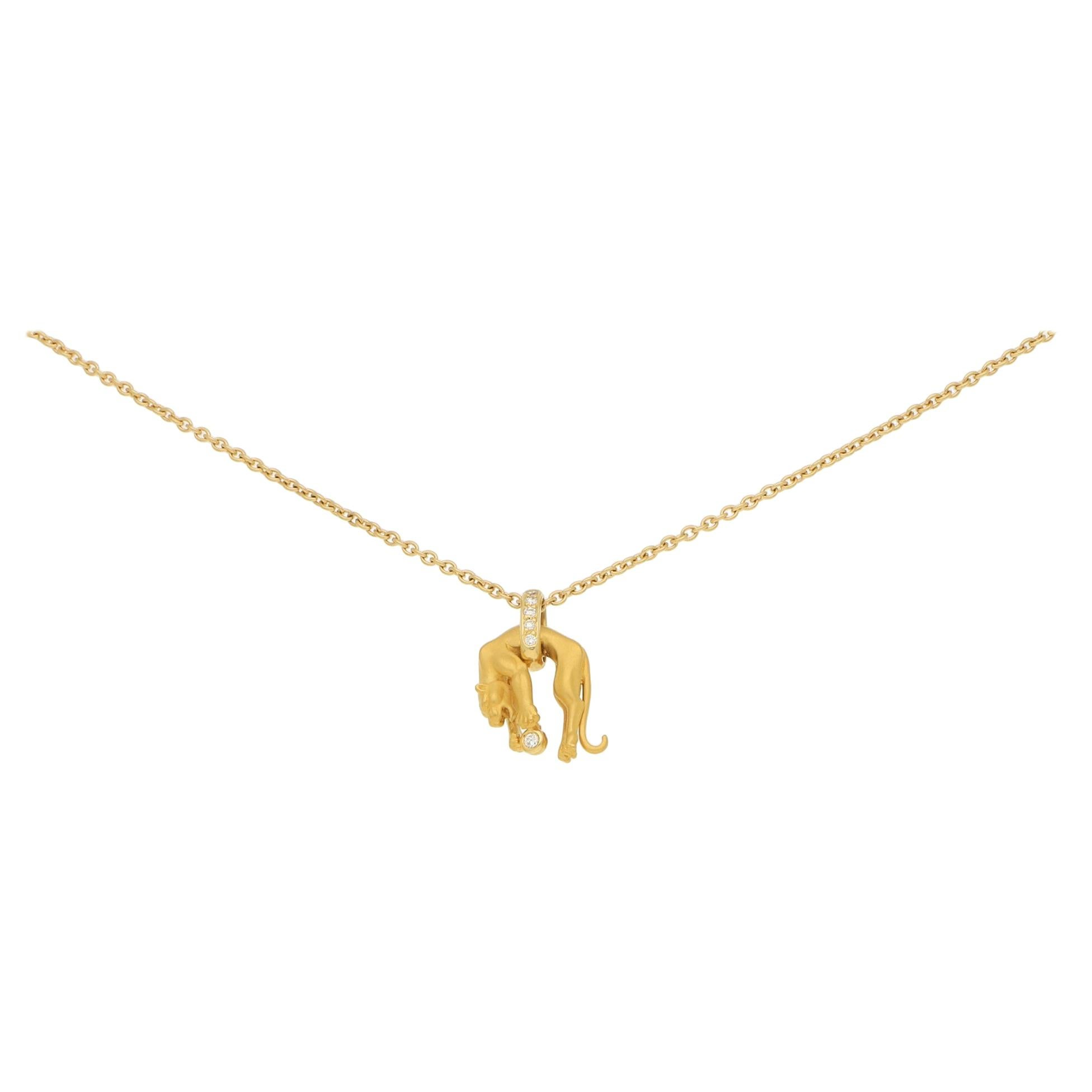 1980s Carrera y Carrera Diamond Panther Necklace in Yellow Gold