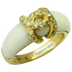 1980s Cartier Diamond White Coral Yellow Gold Ring