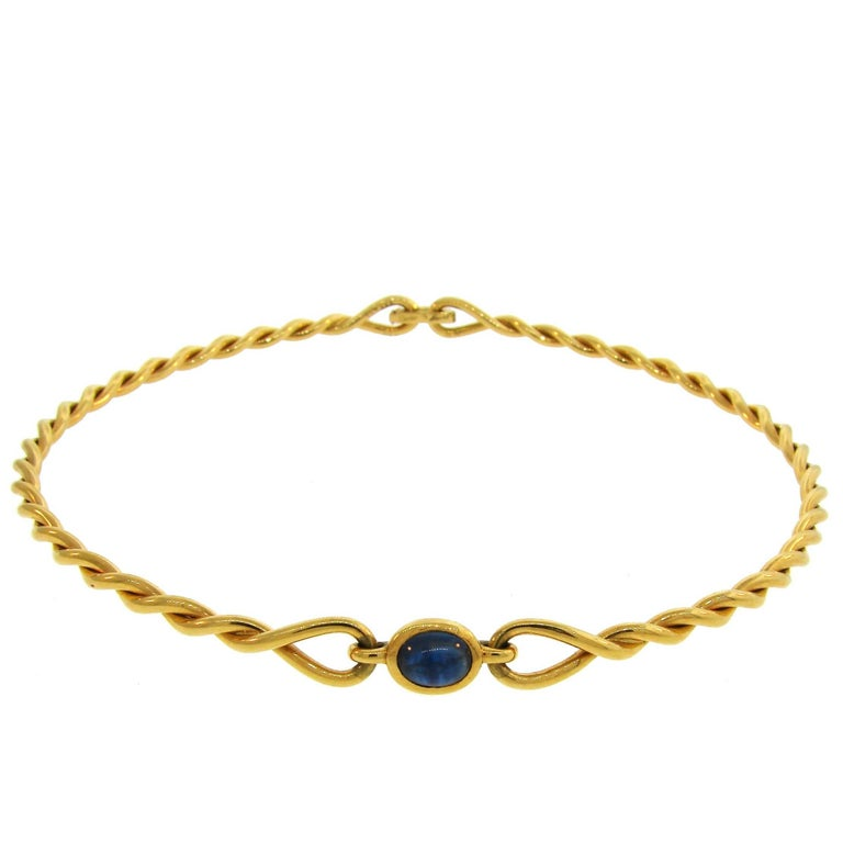 1980s Cartier Sapphire Yellow Gold Choker Necklace For Sale