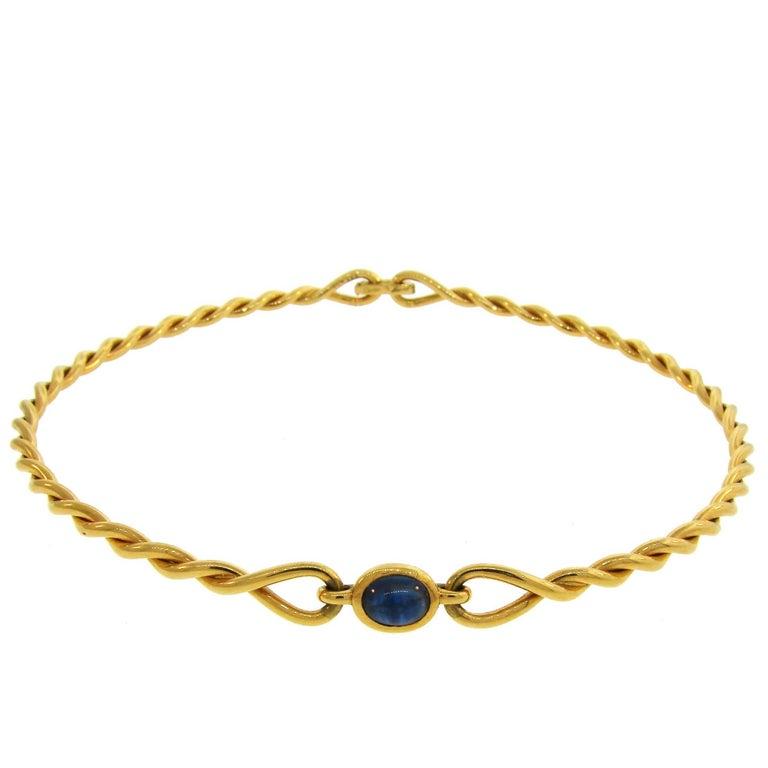 1980s Cartier Sapphire Yellow Gold Choker Necklace