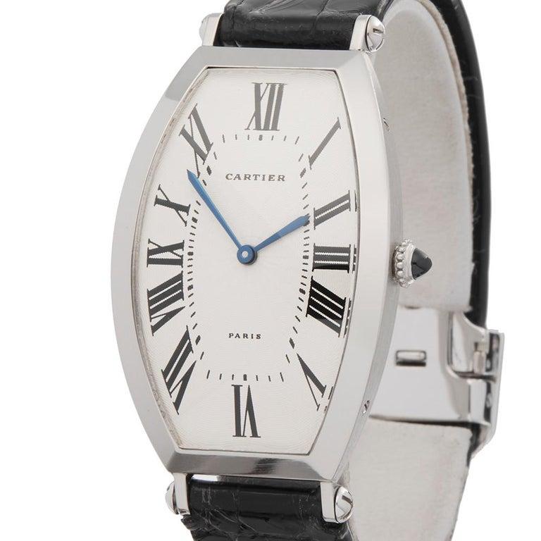 1980s Cartier Tonneau XL Platinum 1098 Wristwatch In Excellent Condition For Sale In Bishops Stortford, Hertfordshire