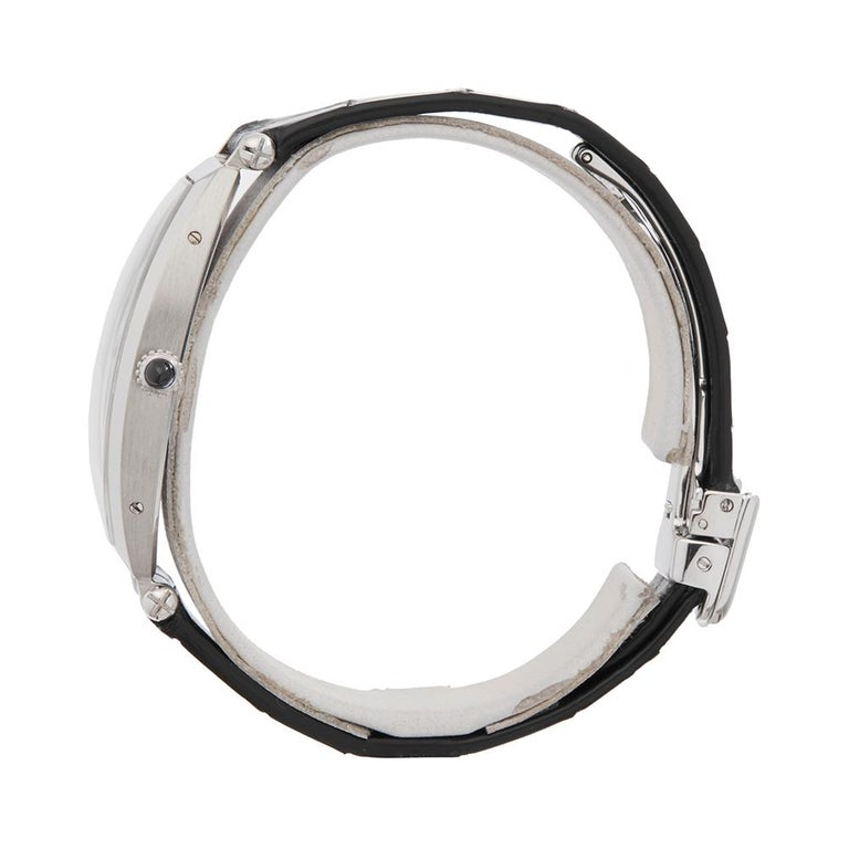 Men's 1980s Cartier Tonneau XL Platinum 1098 Wristwatch For Sale
