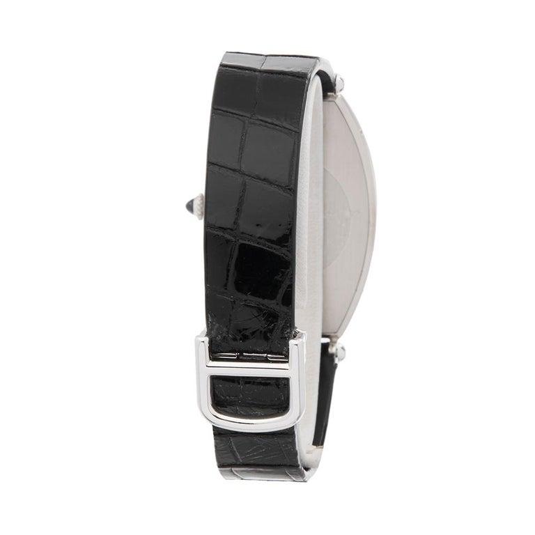 1980s Cartier Tonneau XL Platinum 1098 Wristwatch For Sale 2