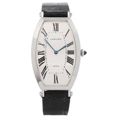 1980s Cartier Tonneau XL Platinum 1098 Wristwatch
