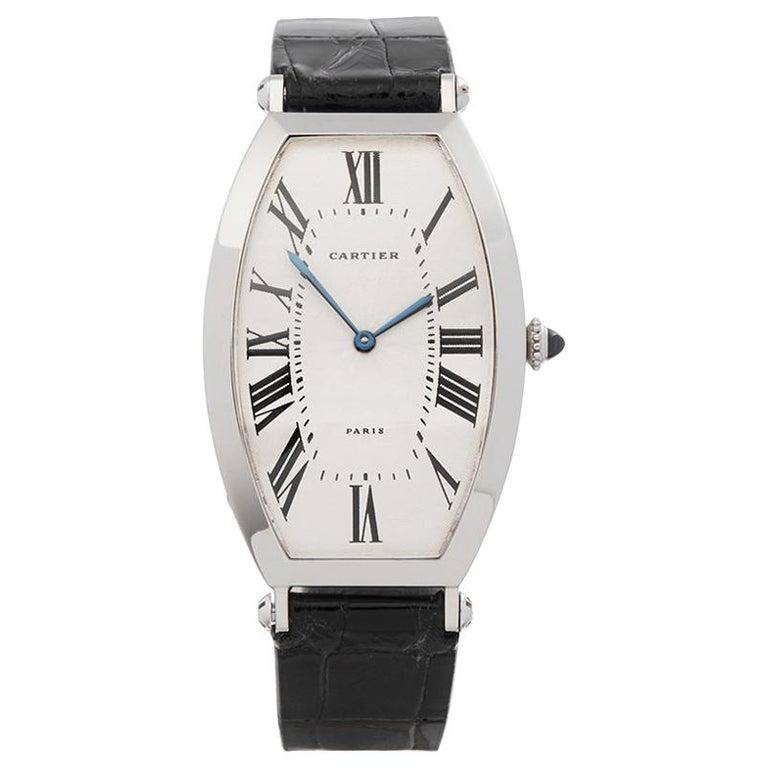 1980s Cartier Tonneau XL Platinum 1098 Wristwatch For Sale
