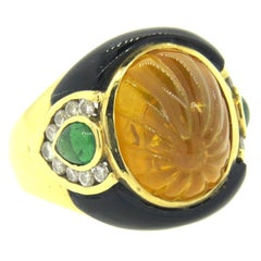 1980s Carved Citrine Onyx Emerald Diamond Gold Ring