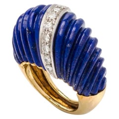 1980s Carved Lapis and Diamond 18 Karat Gold Dome Ring