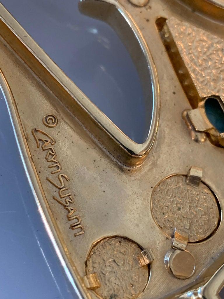 1980s Caryn Suzann Genuine Gator Belt W/ Etruscan-Inspired Semi-Precious Buckle  For Sale 10