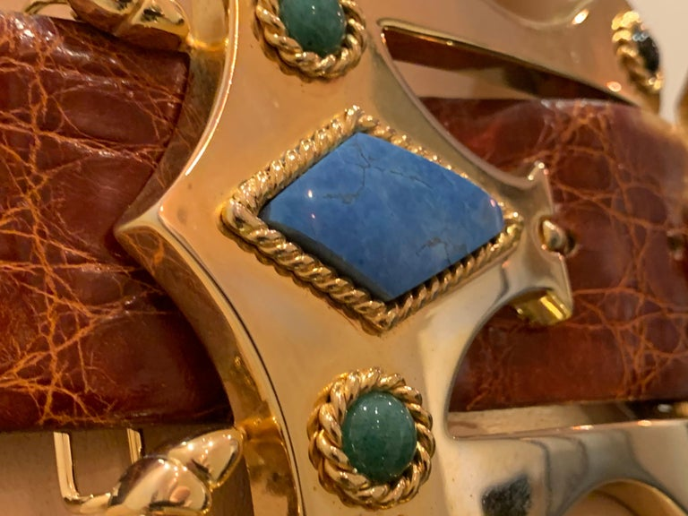 1980s Caryn Suzann Genuine Gator Belt W/ Etruscan-Inspired Semi-Precious Buckle  In Excellent Condition For Sale In San Francisco, CA