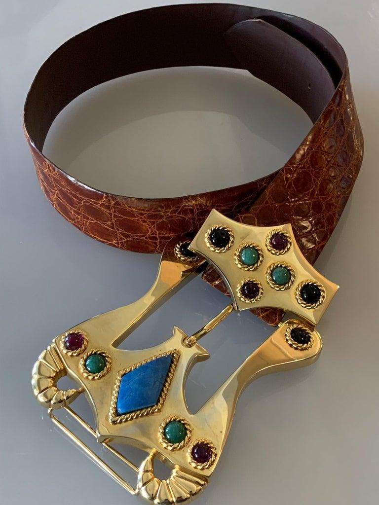 Women's or Men's 1980s Caryn Suzann Genuine Gator Belt W/ Etruscan-Inspired Semi-Precious Buckle  For Sale