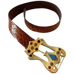 1980s Caryn Suzann Genuine Gator Belt W/ Etruscan-Inspired Semi-Precious Buckle
