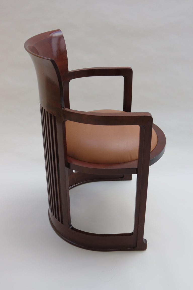 1980s Cassina Barrel Taliesin Chair Designed by Frank Lloyd Wright Cherrywood For Sale 1
