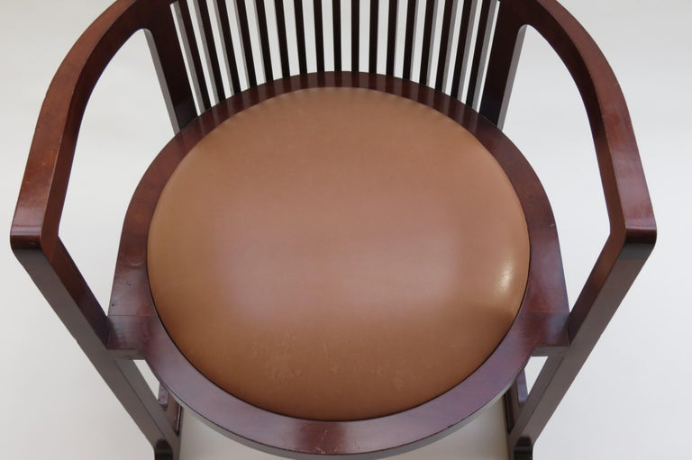 1980s Cassina Barrel Taliesin Chair Designed by Frank Lloyd Wright Cherrywood For Sale 2