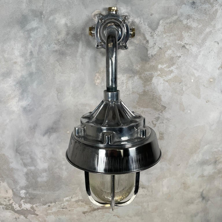 1980's Cast Aluminium Cantilever Wall Lamp Reeded Glass, Steel Shade & Cage For Sale 5