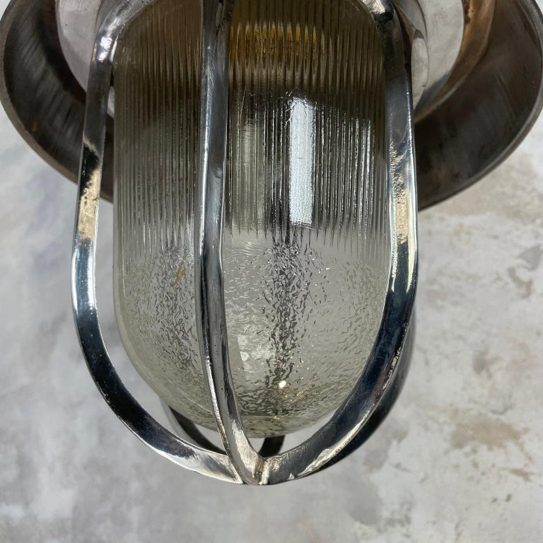 1980's Cast Aluminium Cantilever Wall Lamp Reeded Glass, Steel Shade & Cage For Sale 7