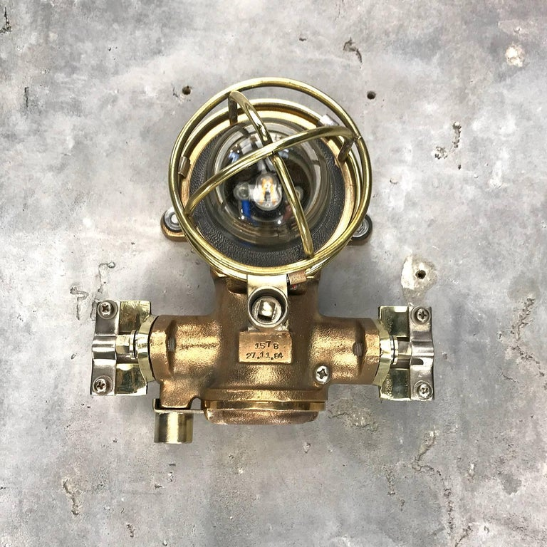 1980s Cast Bronze Flame Proof Water Tight Wall Light, Glass Dome Brass Cage E12 For Sale 6