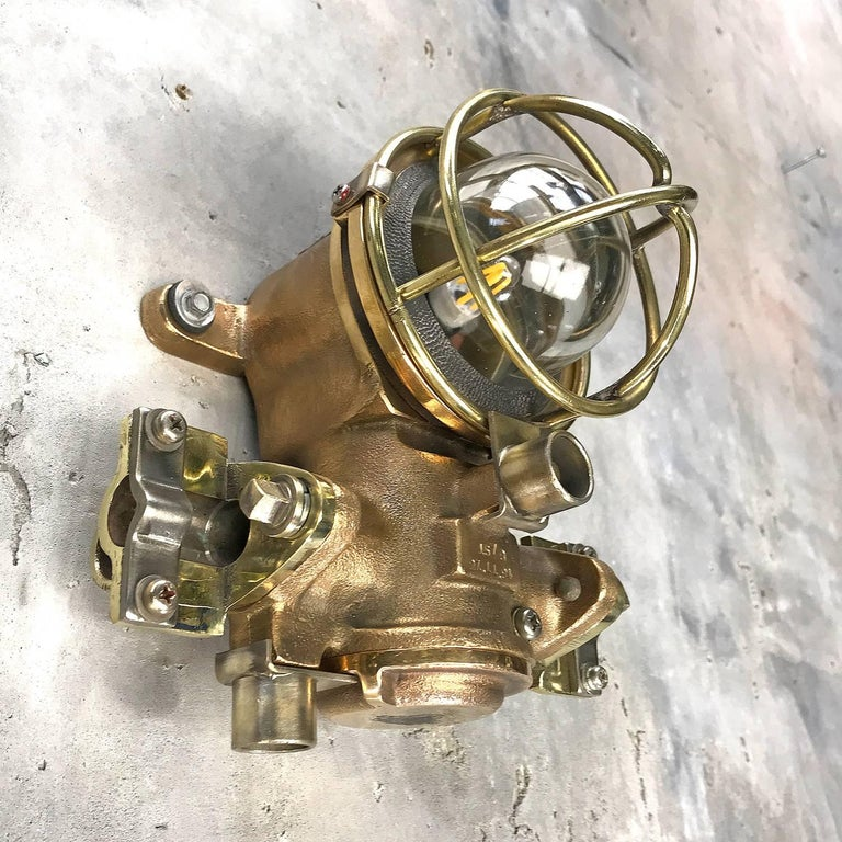 1980s Cast Bronze Flame Proof Water Tight Wall Light, Glass Dome Brass Cage E12 For Sale 7