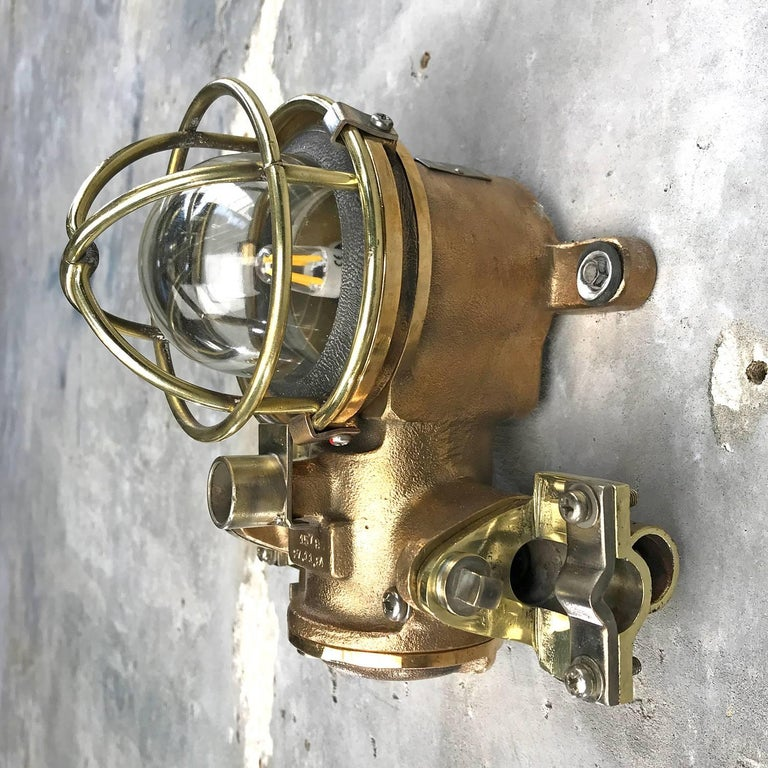 1980s Cast Bronze Flame Proof Water Tight Wall Light, Glass Dome Brass Cage E12 For Sale 8