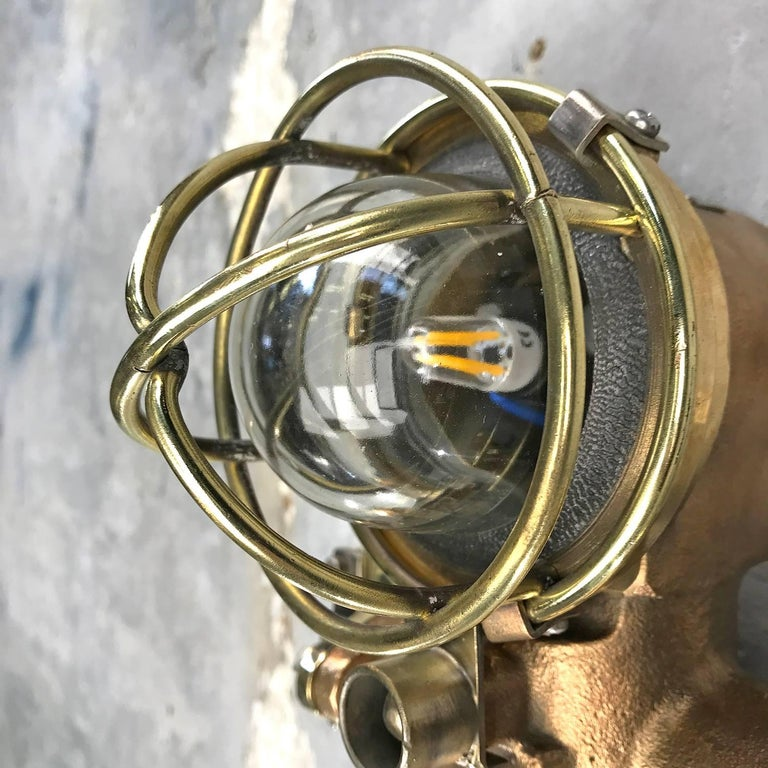 1980s Cast Bronze Flame Proof Water Tight Wall Light, Glass Dome Brass Cage E12 For Sale 9