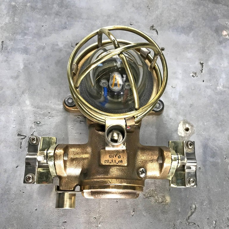 1980s Cast Bronze Flame Proof Water Tight Wall Light, Glass Dome Brass Cage E12 For Sale 10
