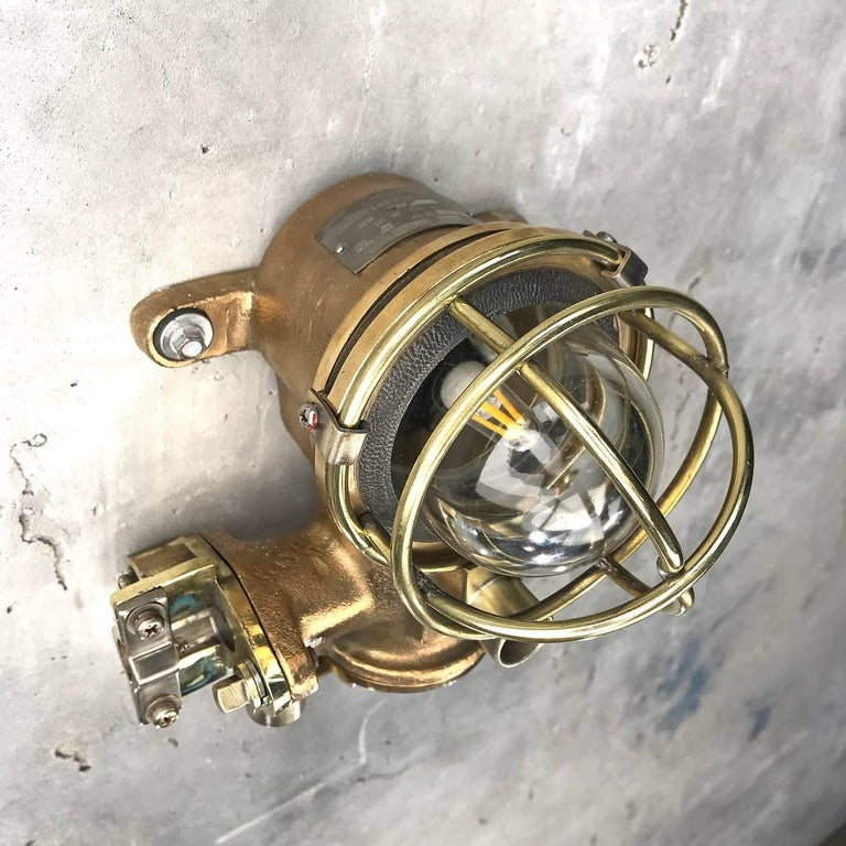 1980s Cast Bronze Flame Proof Water Tight Wall Light, Glass Dome Brass Cage E12 For Sale 11