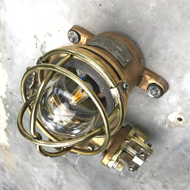 1980s Cast Bronze Flame Proof Water Tight Wall Light, Glass Dome Brass Cage E12 For Sale 12