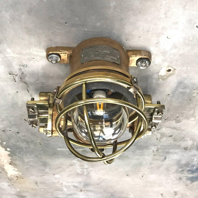 1980s Cast Bronze Flame Proof Water Tight Wall Light, Glass Dome Brass Cage E12 For Sale 13