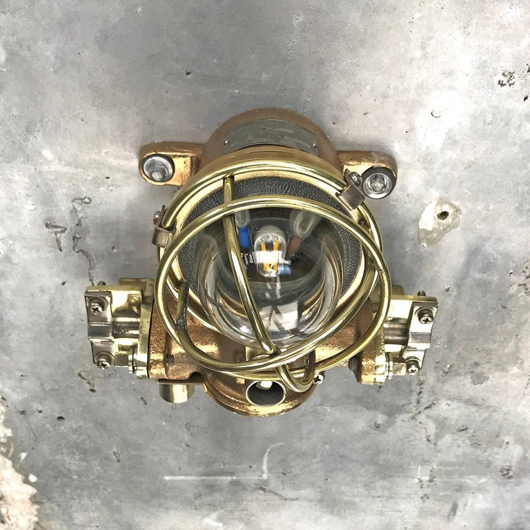 1980s Cast Bronze Flame Proof Water Tight Wall Light, Glass Dome Brass Cage E12 For Sale 14