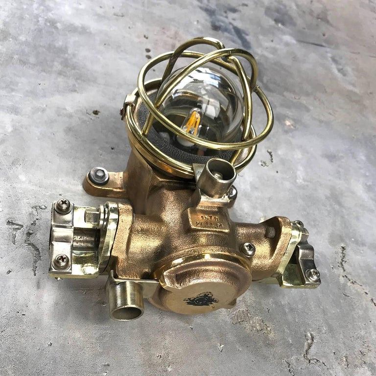 Industrial 1980s Cast Bronze Flame Proof Water Tight Wall Light, Glass Dome Brass Cage E12 For Sale