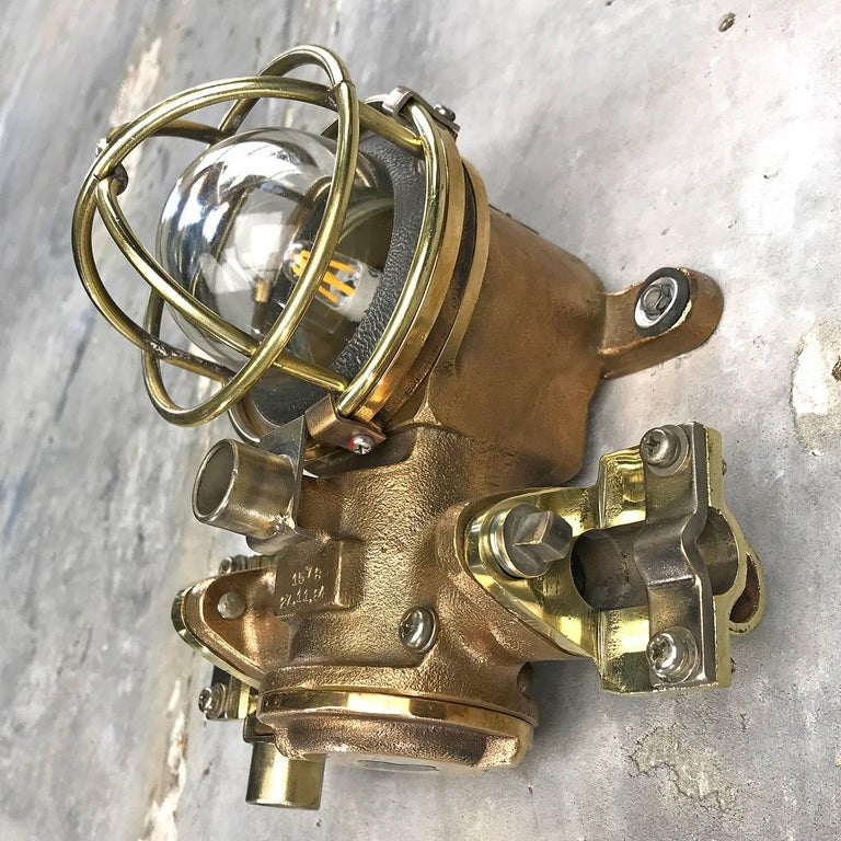 1980s Cast Bronze Flame Proof Water Tight Wall Light, Glass Dome Brass Cage E12 In Excellent Condition For Sale In Leicester, Leicestershire