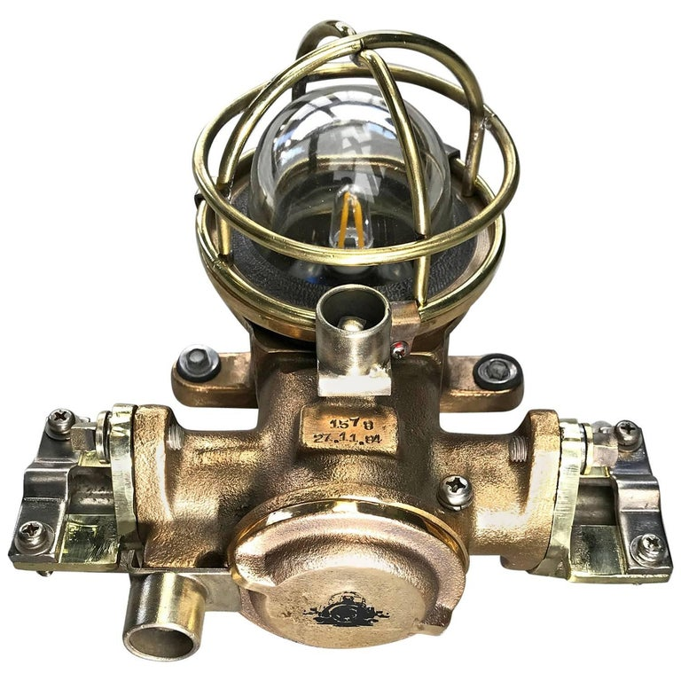 1980s Cast Bronze Flame Proof Water Tight Wall Light, Glass Dome Brass Cage E12 For Sale