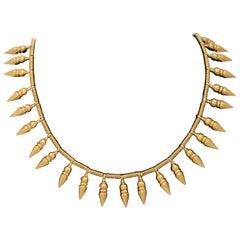 1980s Castellani Cleopatra Style Fringe Pendants High Karat Gold Necklace