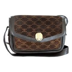 1980s Celine Leather Velevt Brown Shoulder Bag